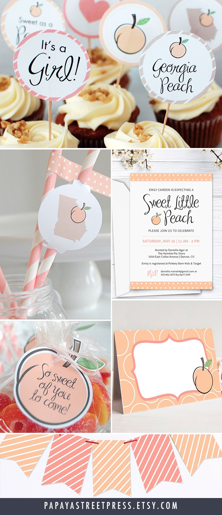 Host a memorable Georgia Peach baby shower with this adorable sweet as a peach set, including cupcake toppers and wrappers, straw flags, peach favors, food tents, a decorative banner, and an editable invitation. This set can be adapted for a Georgia peach bridal shower as well.