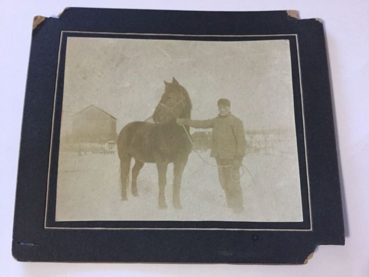"Antique Cabinet Photograph Man Horse Dude Winter Day 5 1/2"" X 6 1/2""  | eBay"