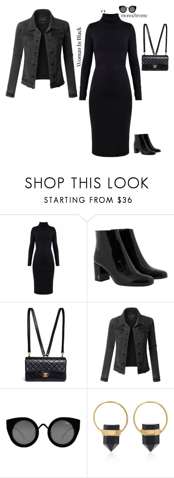 """One Color Wave: All Black Outfit"" by jenily ❤ liked on Polyvore featuring Undress, Yves Saint Laurent, Chanel, LE3NO, Quay and Isabel Marant"