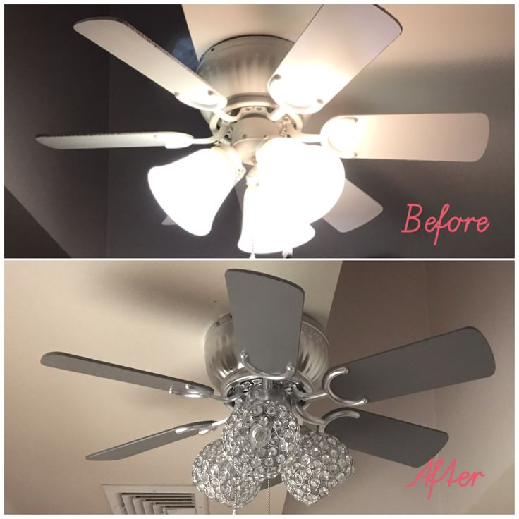 DIY Ceiling Fan Update  Chrome & gray spray paint + new crystal lampshades =  #glamdecor