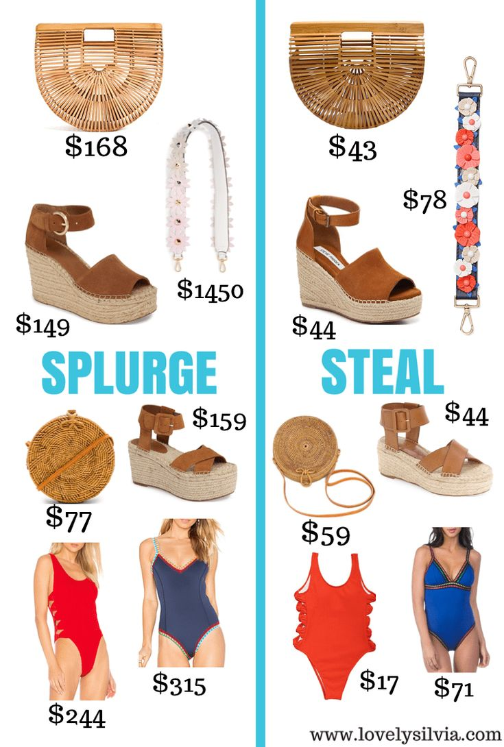 splurge vs steal, spring splurge vs steal, splurge vs steal spring edition, steve madden wedges, marc fisher wedges, cult gaia bag, fendi bag strap, floral bag strap, one piece swimsuits, spring break list, spring break shopping, spring fashion, fashion for spring, spring fashion 2018
