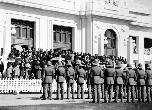 Duntroon Military College cadets on parade at Old Parliament House on Anzac Day, Canberra, 1928.