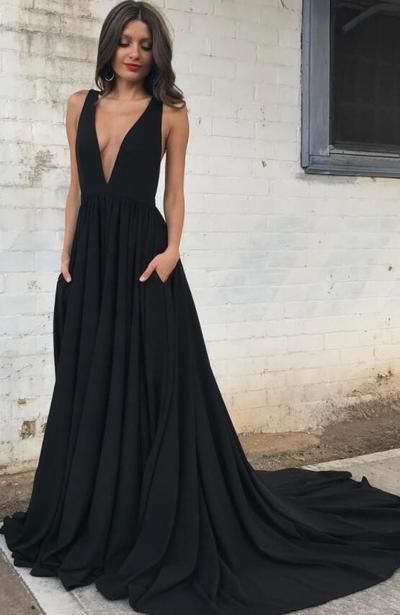 37c0109502 Sexy Deep V Neck Chiffon Black Long Prom Dress with Train from ...