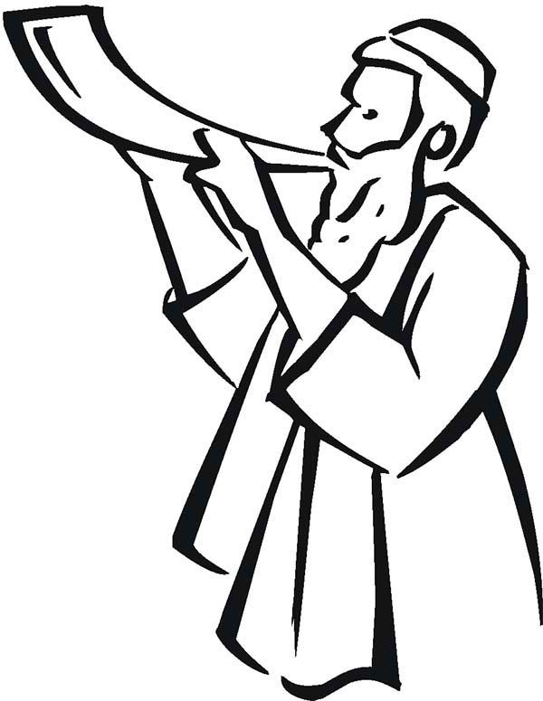 a boy pouring honey to an apple in rosh hashanah coloring page