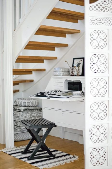 beautiful way to utilize under stairs space. I like the screen and would consider a Hawaiian motif pattern and making a shoe room and storage room.