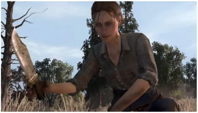 Marston carries a large Hunting Knife with him at all times, and uses it for melee combat, skinning and carving animals, and to free hogtied NPC's.