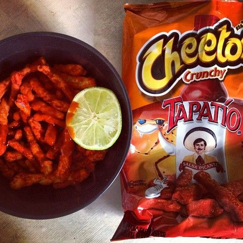 tapatio cheetos with more tapatio and lime