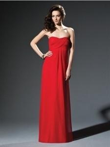 red strapless floor length bridesmaid dresses