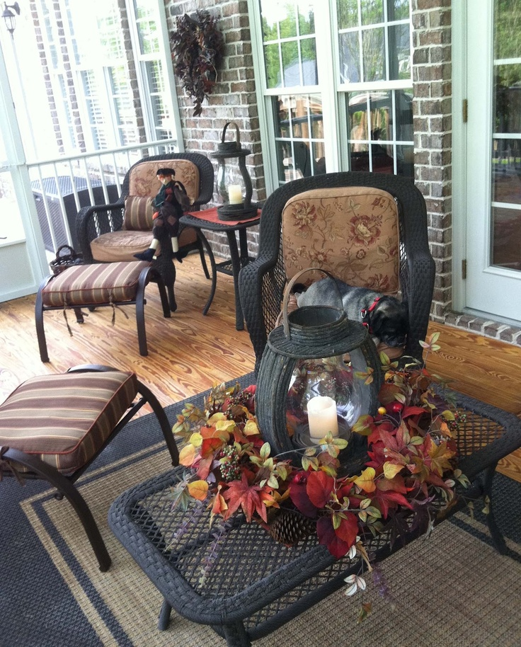 Sun Porch Decorated For Fall. I Want Black Wicker Furniture!