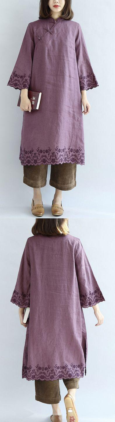 Vintage-purple-spring-dresses-long-linen-dress-plus-size-linen-caftans-gown