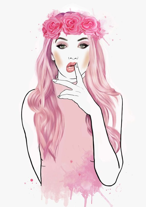 Pretty in Pink gigi hadid victoria secret by AlanaMaysCreations on Etsy, from $15.00, etsy business, fashion illustration, flower crown, hair braid, watercolour, printable wall art, art print, girls gift, home decor, bedroom decor