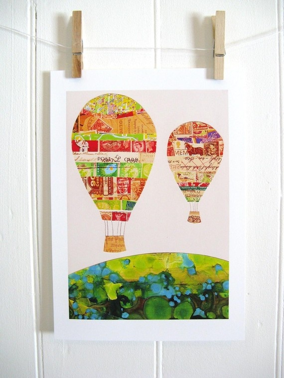 Hot air ballooning is all the rage in California Wine Country: Hot Air Balloon, Balloon Decor, Collage Art, Kathy Pantone, Kids Art, Nurseries Art, Paper Collage, Art Projects, Balloon Prints