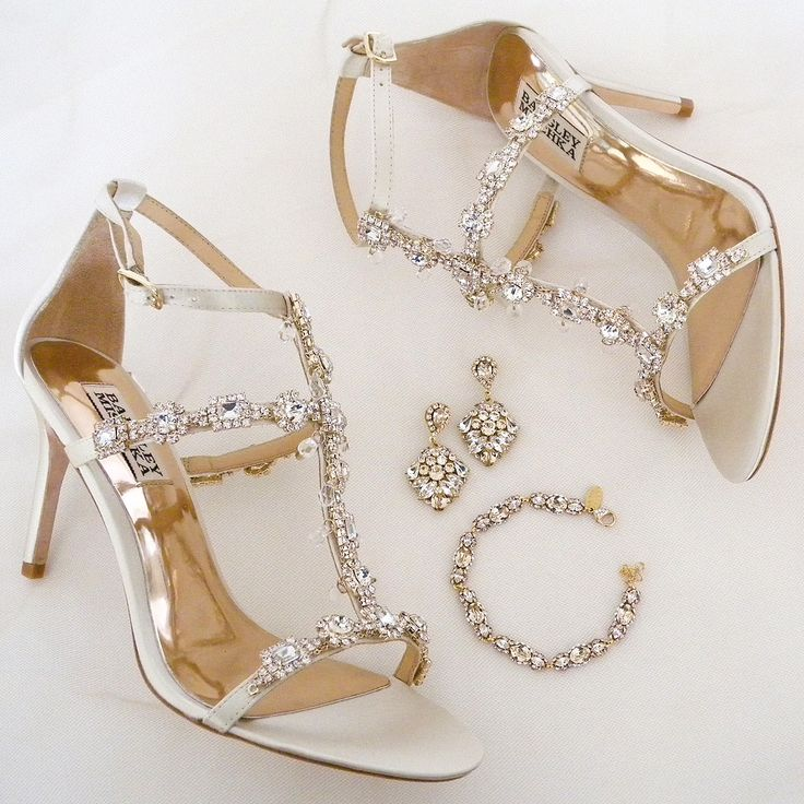 Eureka!! Gold accented wedding shoes & bridal jewelry.  Cascade wedding sandals by Badgley Mischka. Bridal jewelry by Haute Bride.