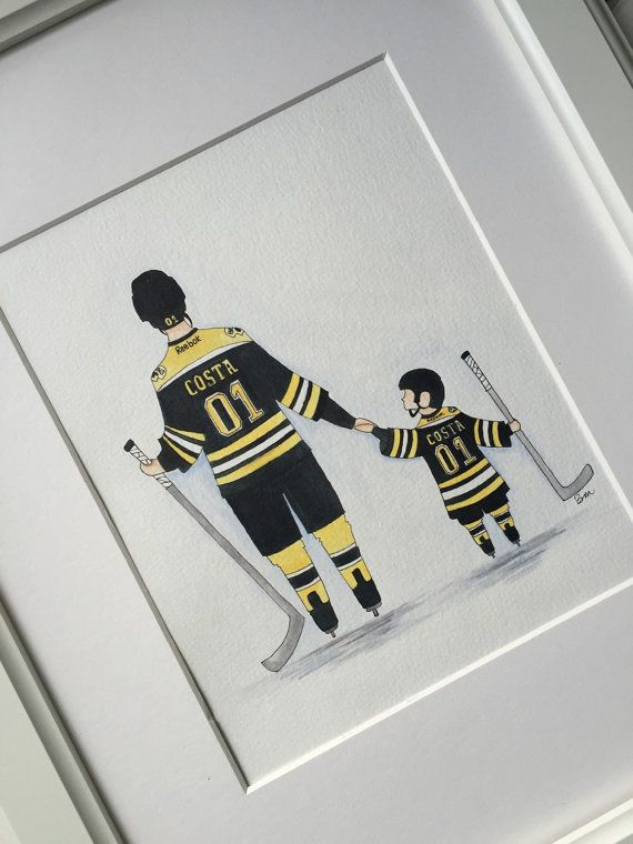 Sports nursery decor. Boston Bruins hockey Father by BMonteDesigns