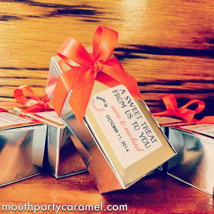 You provide the custom stickers and we'll do the rest! Custom caramel wedding favors