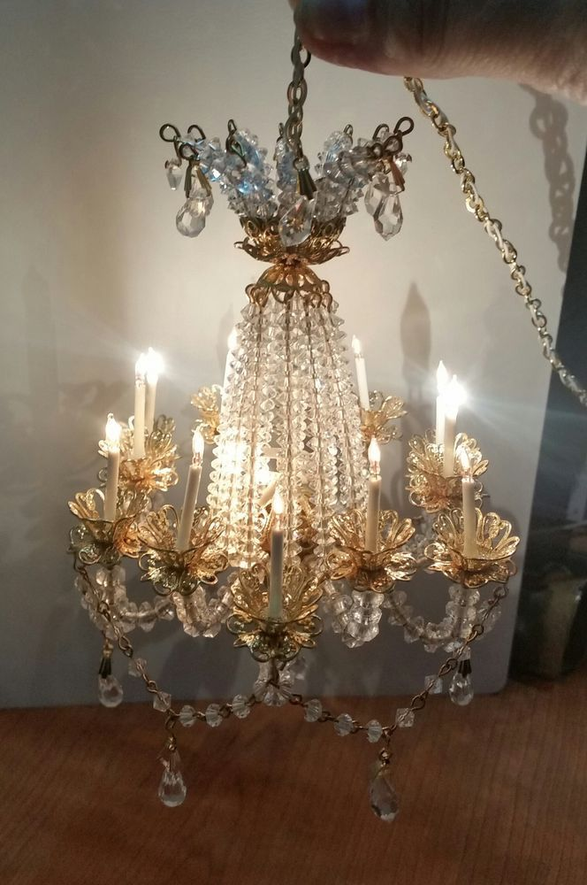 Handmade Crystal Chandelier Swarowski 12 Arm Rosel Miniature Dollhouse 1 30