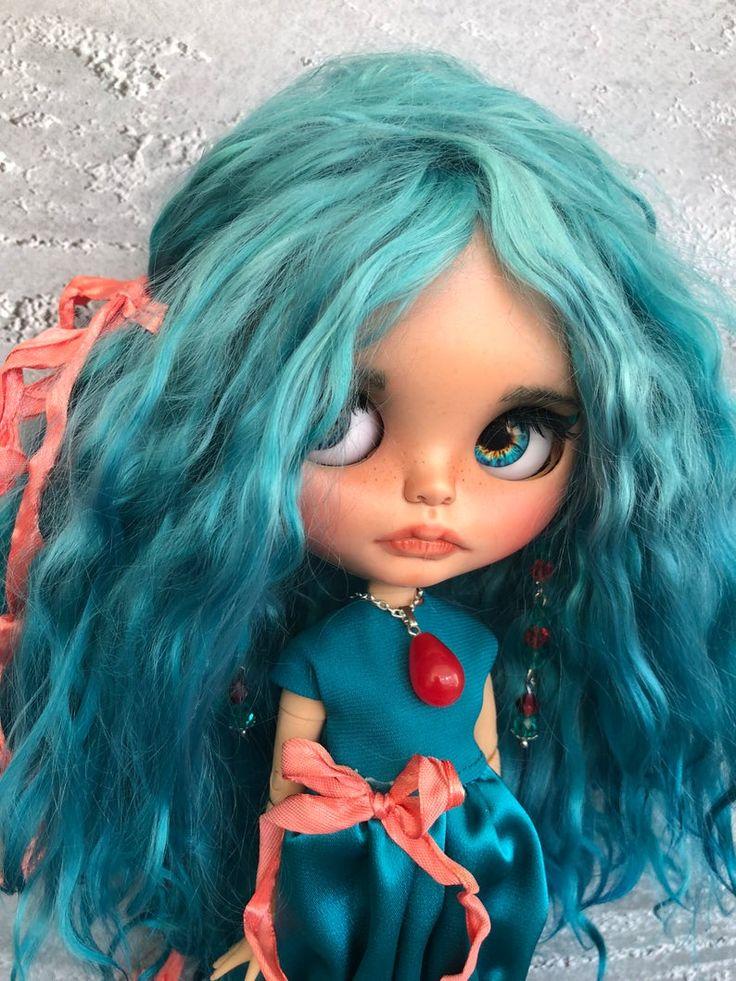 Marina Blythe doll custom OOAK with mohair weft, birthday gift, present