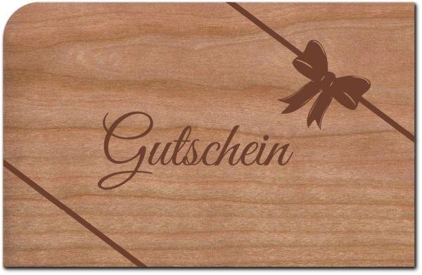 Holzpost, Grußkarte Gutschein aus echtem Kirschbaumholz 14x9cm inkl. DIN C6 Umschlag | G239