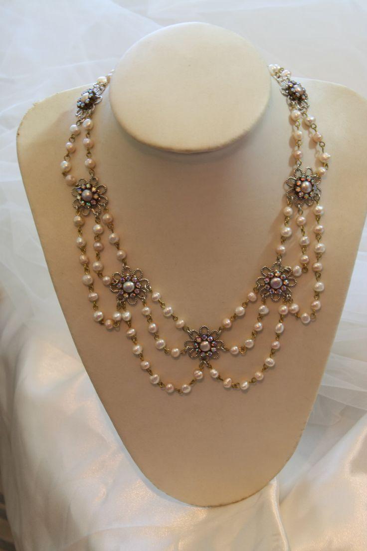 Collar de perlas Champagne Vintage collar nupcial por mylittlebride