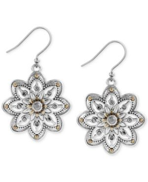 Lucky Brand Two-Tone Openwork Floral Drop Earrings - Yellow