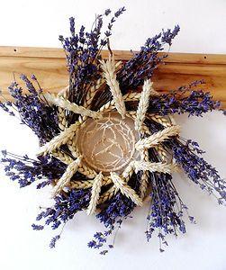Lammas Wheat Lavender Sun God & Goddess Sun Wheel Wreath. Handmade Original