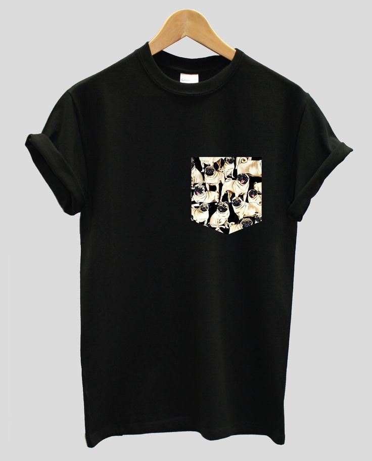 Real Stitched Pug Dog Pattern Print Pocket T-shirt, Hipster Indie Swag Dope Hype Black White Mens Womens Cute Pocket Shirt by IIMVCLOTHING on Etsy