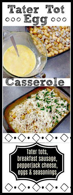 Tater Tot Egg Breakfast Casserole #Recipe #tatertots #potato #egg #casserole #breakfast #easydinner #mealidea #sausage