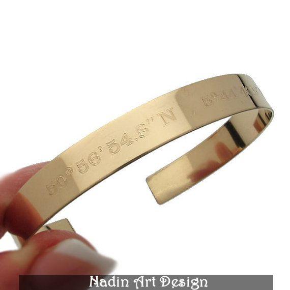 Goldarmband / GPS-Koordinaten-Armband / Geschenk von NadinArtDesign auf DaWanda.com