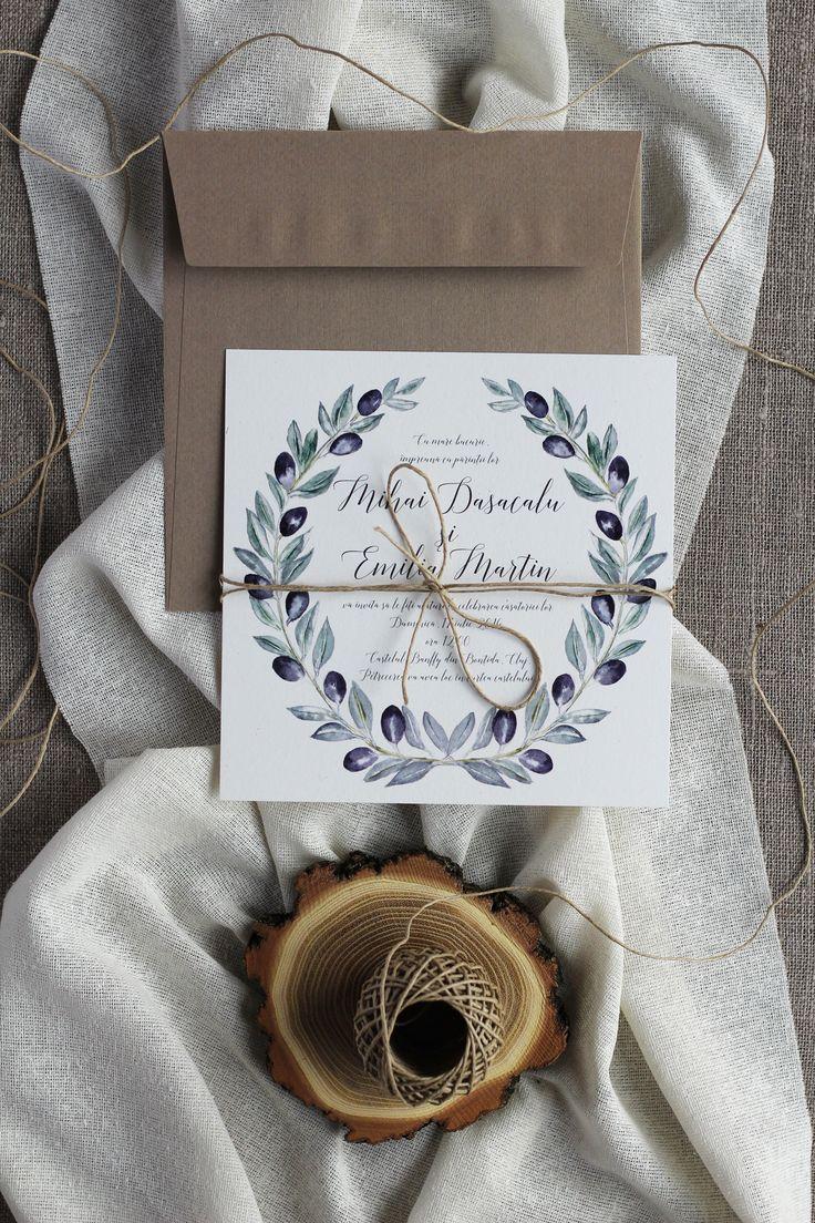 Invitatii de nunta Papira / Olive wreath wedding invitation