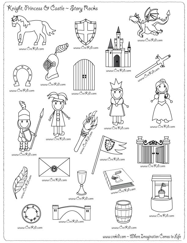 Knights & Castles - drawing - writing - stories - story rocks - kindergarten - first grade - second grade - third grade - writing prompts - sentence starters - story prompts - story map - www.crekid.com