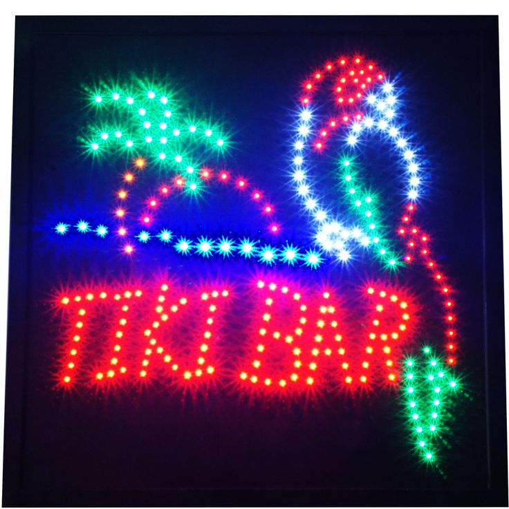 """Large 19x19"""" Bright Animated TIKI BAR Beach Open Pub LED Sign Display Light neon #AhhaProducts"""