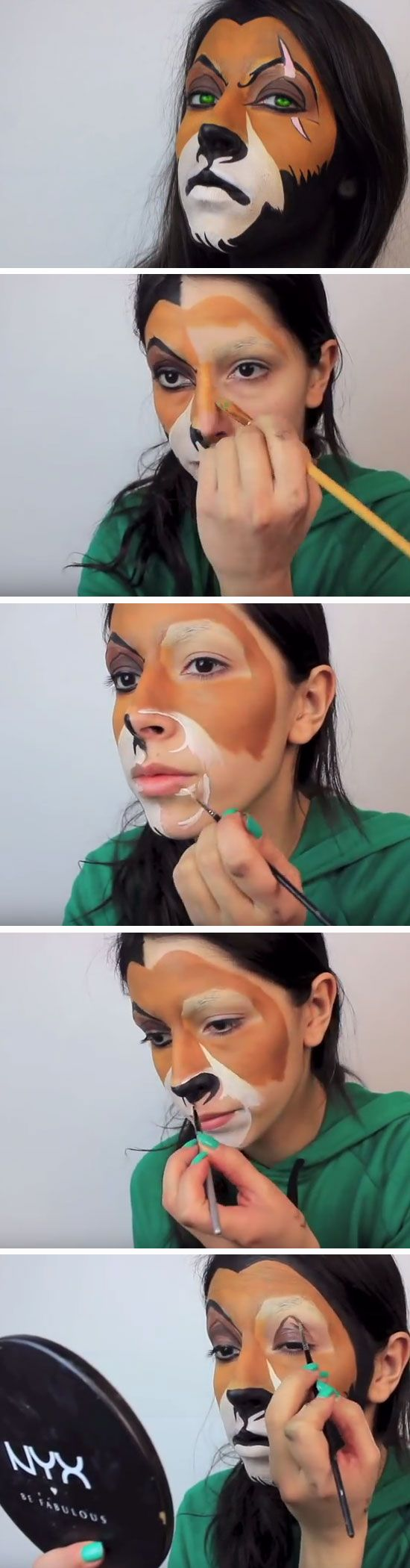 The Lion King's Scar | Click Pic for 26 DIY Halloween Makeup Ideas for Women | DIY Halloween Dress Up Ideas for Adults http://videosdeterror.com.mx