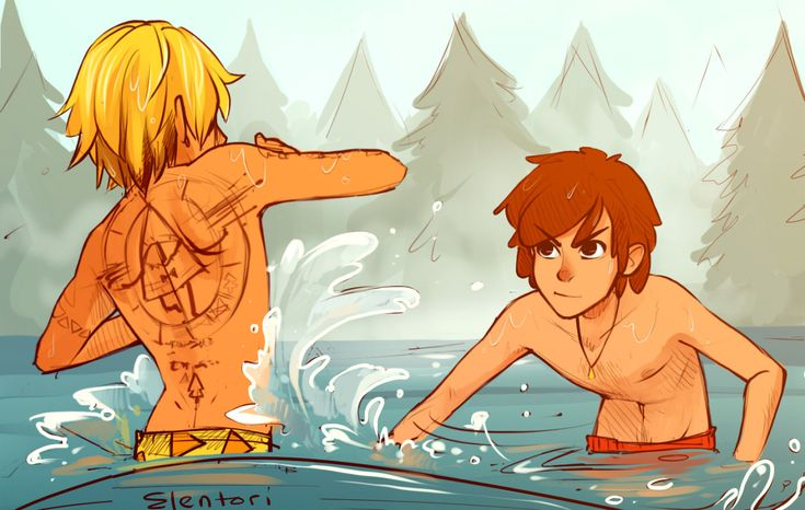 Bill and Dipper at the lake (art by elentori on tumblr)