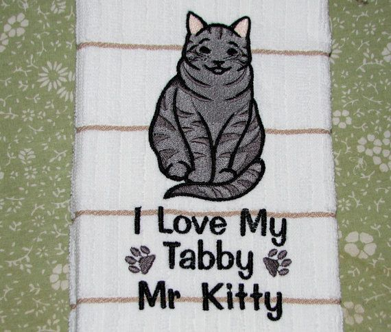 Grey Tabby Cat Towel.  Personalize it.  I by MLOriginalsPetShop