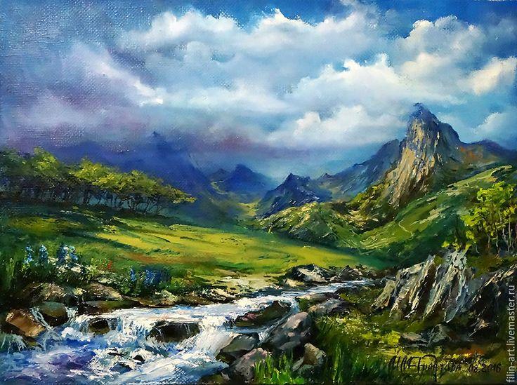 """Купить Пейзаж Горы Картина маслом на холсте - """"Горный ручей перед грозой"""" - зеленый, голубой, ручей, горный пейзаж, картина маслом на холсте, горы, пейзаж маслом, картина маслом пейзаж, авторская живопись, картина в подарок, картина для интерьера, филатова, филин-арт, картина маслом от автора, яркая картина в интерьер, современная живопись, горный пейзаж картина, картина купить минск, красивый пейзаж картина, красивая картина маслом"""