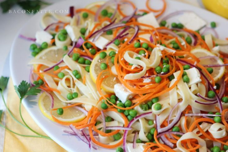 Lemon Fettuccine with Carrot 'Noodles,' Spring Peas and Feta recipe from BaconFatte.com