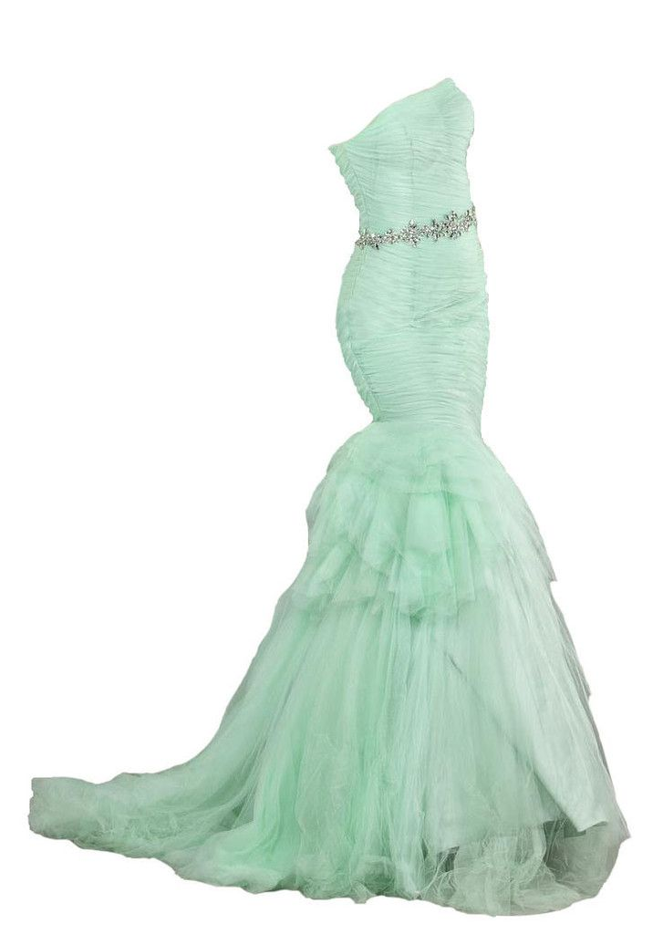 Prom Dress 64351 Strapless Mermaid Gown with Train - Light green size 6 $192 - Tulle mermaid gown features ruched bodice, jewel waist belt and tiered skirt. This piece is perfect for a formal event like prom.