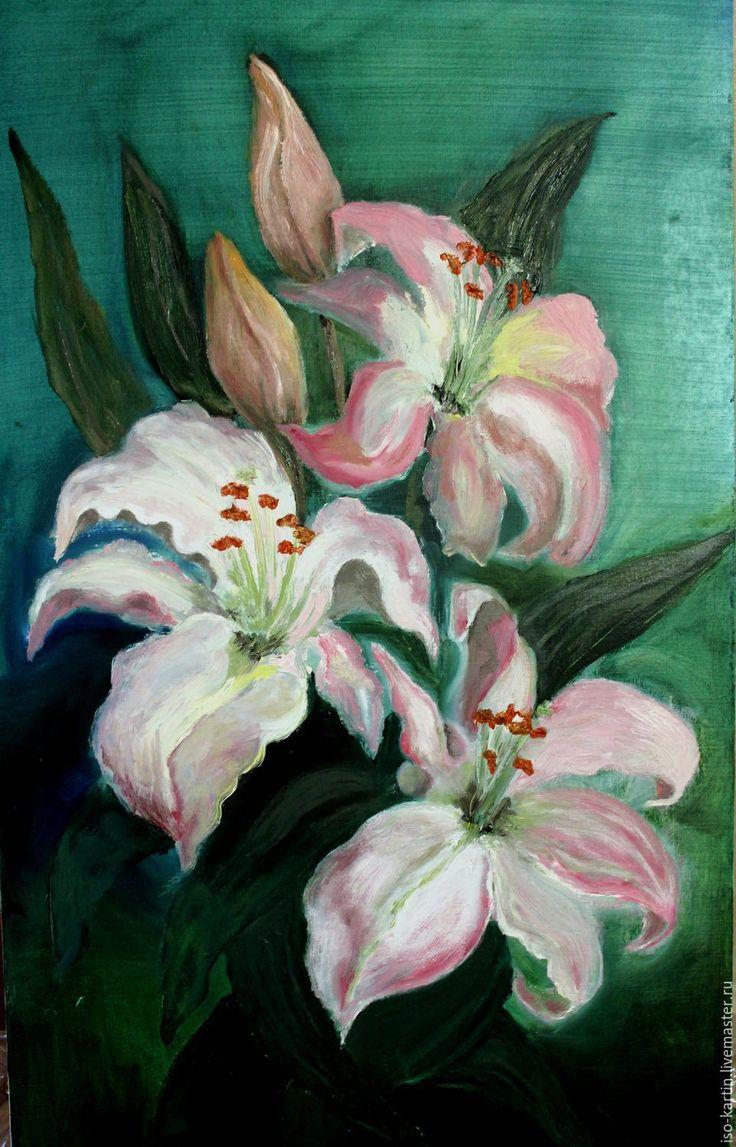 Купить Oil painting. Lily - розовый, лилии, картина маслом, картина цветов, картина с цветами