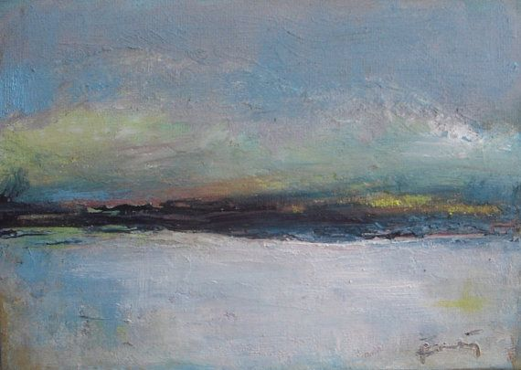 End of Winter Day  original oil painting  minimalist by VESNAsART