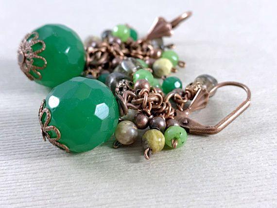 Green Jade Smoky Topaz and Jasper Gemstone Earrings Dangle
