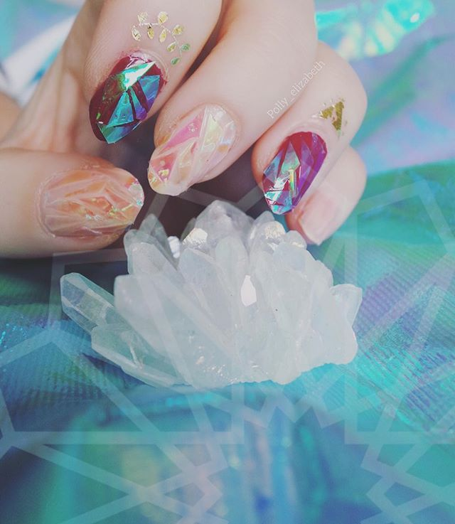Did some fractal nail art, the nude nails are defs my fav  (vid tutorial to follow) #nails#nailart#naturalnails#diy#trend#nailtrend#fashion#style#crystal#crystals#glass#glassart#glassnails#futuristic#iridescent#raggedpriest#theme#galactic#fractal#fractalart#instagood#instalove#instamood#snap#geometry#geometryart#blue#pink#instanails#nailswag