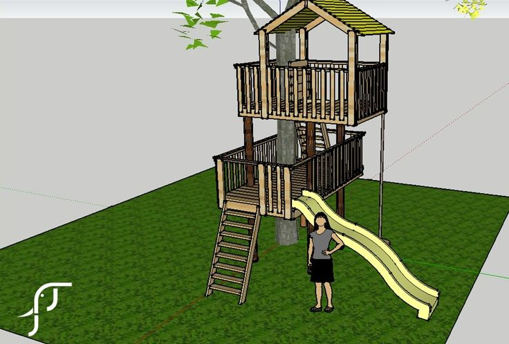 Earle's Court - A two level tree house complete with slide and climbing wall.