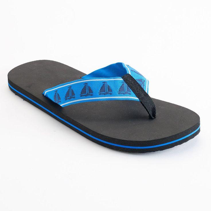 Men's Nautical Flip-Flops, Size: Medium, Blue