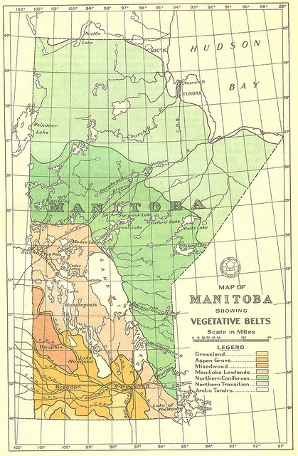 DID YOU KNOW??? -MANITOBA HAS 100,000 LAKES!!!  BEAUTIFUL!!  Map of Manitoba Showing Vegetative Belts (1934) by Manitoba Historical Maps, via Flickr  >>>ew67