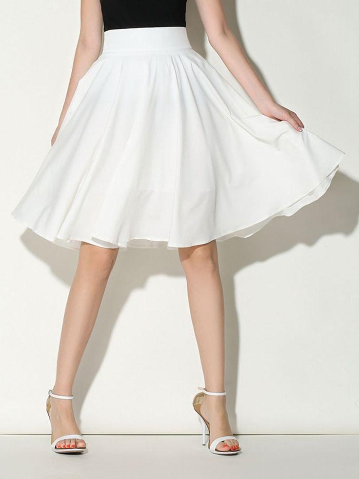 White, High Waist, Midi, Skater Skirt