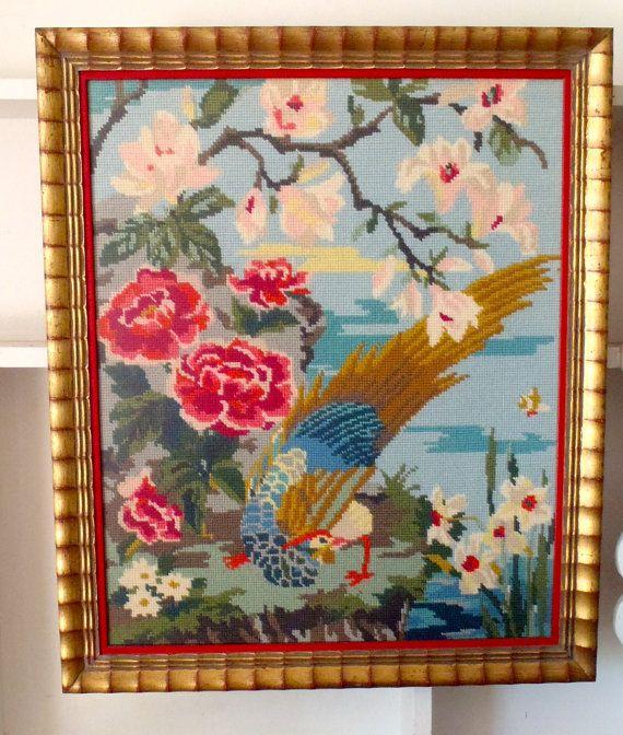 Vintage Asian Framed Needlepoint Bird by vagabondsandcaravans, $165.00