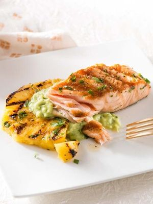 Recipes from The Nest - Grilled Salmon and Pineapple with Avocado Dressing