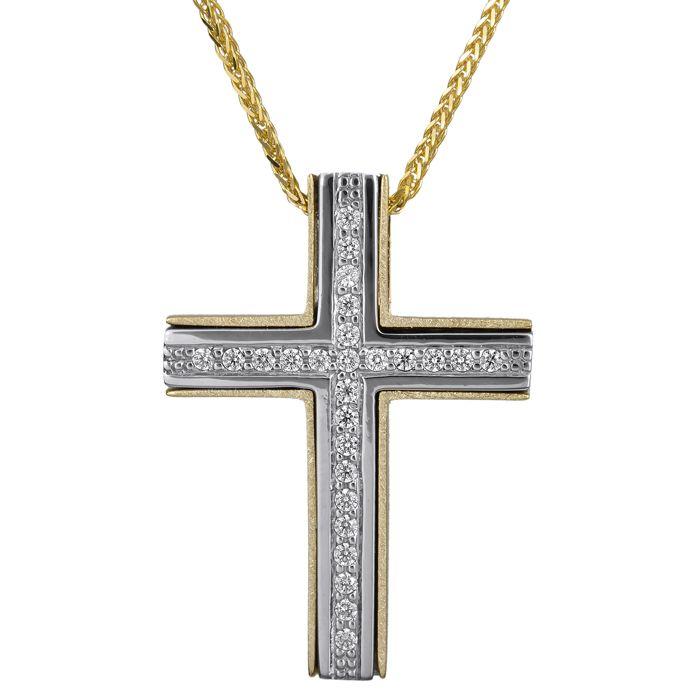 Δίχρωμος σταυρός με πέτρες Κ14 024806C