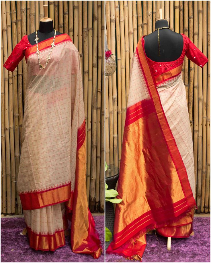 Off-white and red checked Gadwal pure silk with temple border | House Of Blouse