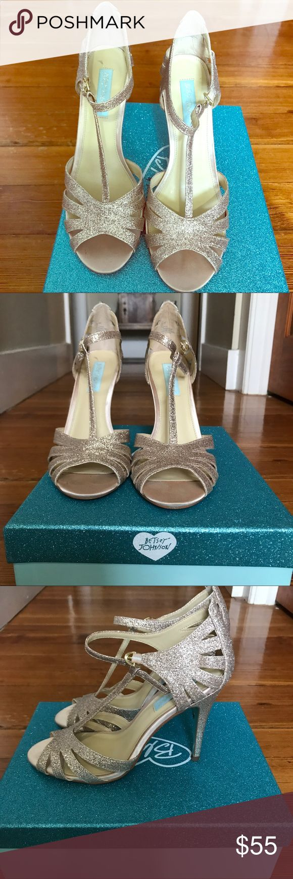 """Blue by Betsey Johnson - Champagne Colored Heels Worn once. Like new, excellent condition. Scuff marks on the bottom of the shoe only (pictured). Comfortable 4"""" covered heel. Beautiful shoe for a wedding or event! Betsey Johnson Shoes Heels"""